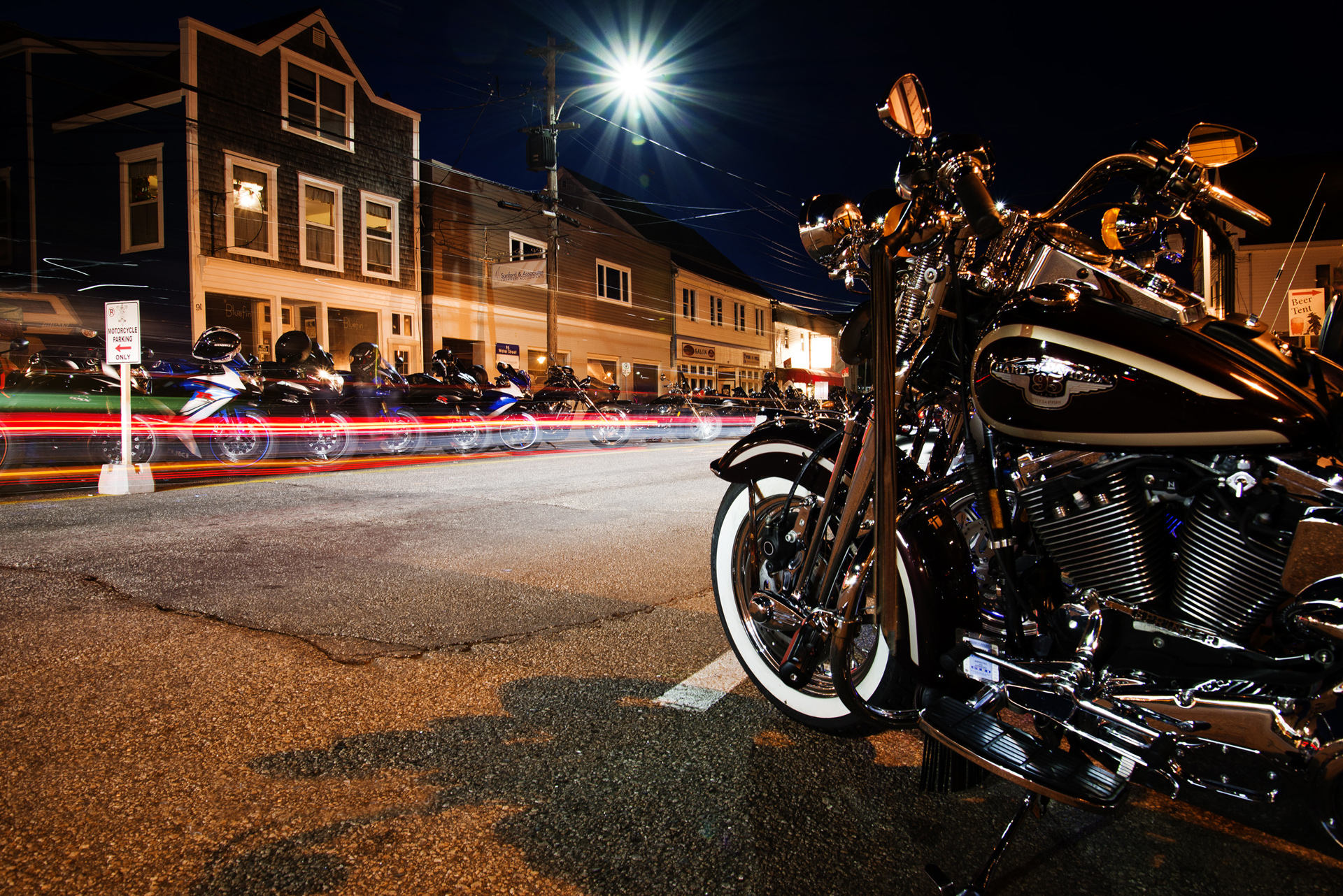 Night time in Digby, during the Wharf Rat Rally.